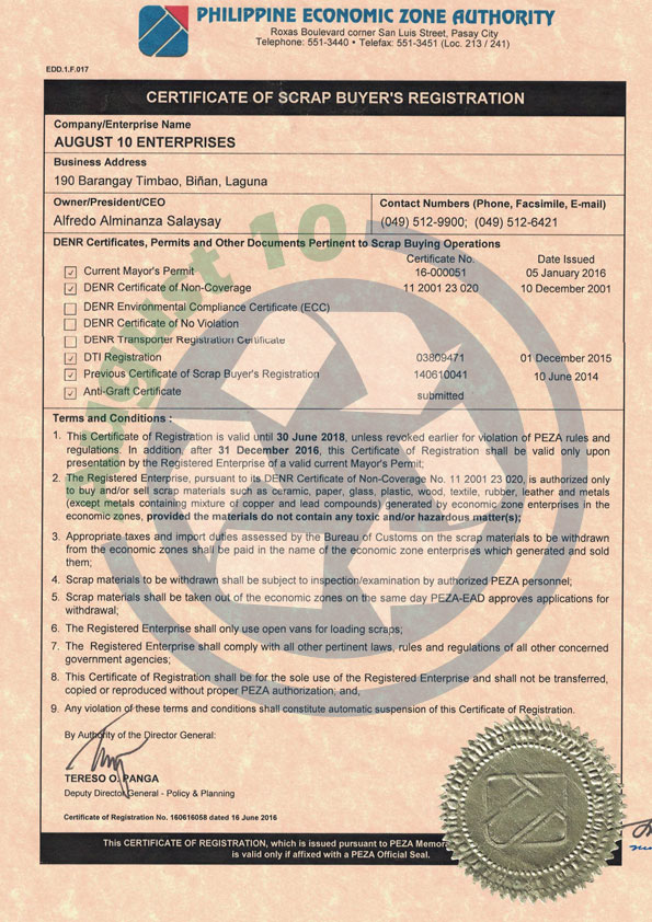 PEZA Certificate of Registration Page 1