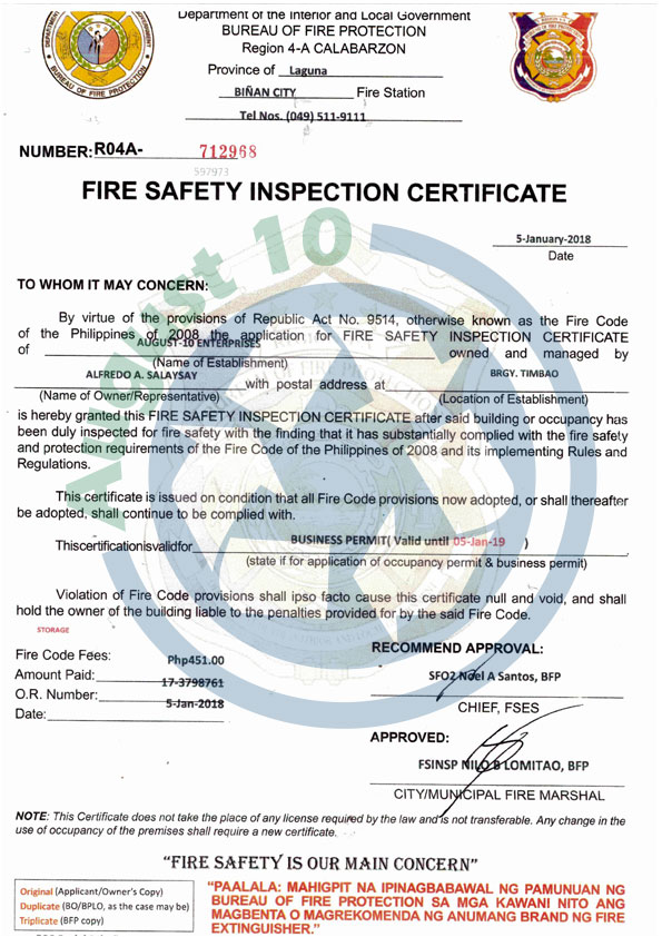 Fire Safety Inspection Certificate